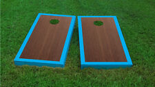 Premium Cyan Border Rosewood Stained Cornhole Board Game Set