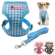Pink Grid Dog Puppy Vest Harness and Leash Set for Small Dogs Chihuahua Yorkie