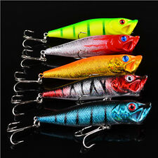 Lot 5pcs Popper Fishing Lure Bass Crankbaits Hooks Tackles Minnow Fish Lures