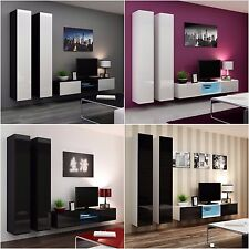 BMF VIGO 19 GLASS WALL CABINETS TV UNIT SET HIGH GLOSS FRONTS