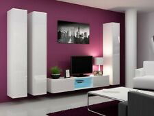 BMF VIGO GLASS 18 WALL CABINETS TV UNIT SET HIGH GLOSS FRONTS VERTICAL