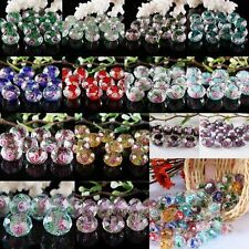 Colorful Faceted Murano Lampwork Glass 8x12mm Flower Rose Spacer Beads Findings