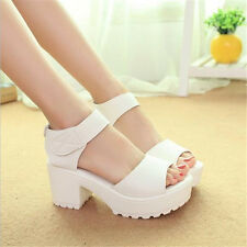 Women wedges Open Toe Thick Heel Soft PU Women Platform Sandal high-heeled Shoes
