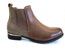 LADIES WOMENS BROWN ANKLE HIGH LEATHER STYLE LOW HEEL CHELSEA BOOTS SHOES SIZE 6