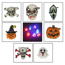 UK Crystal Horror Gift Halloween Pumpkin Witch Vampire LED Brooch Badge Toy Pins