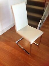 Set of 8 White PU Leather Dining Chairs