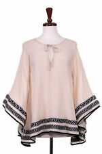 S-M-L Angel Wing Sleeve Kaftan Poncho Top With Chevron Detail Trim- Color Sand
