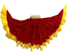 RED Satin Tribal Fusion Gypsy 32 Yard Skirts Belly Dancing ATS DANCE Skirt Jupe
