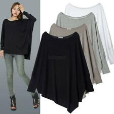 Fashion Women Casual Batwing Sleeve Irregular Loose T-Shirt Blouse Tops Shirts