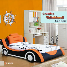 PU Kids Racing Car Bed Single Size Children Bedroom Furniture Kids Orange Blue