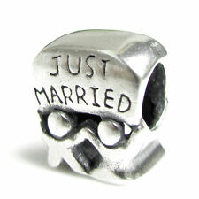 Sterling Silver Just Married Wedding Couple Bead for European Charm Bracelets