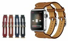 Genuine Leather Double Buckle Cuff Watch Band Strap For Apple Watch Series 1 2 3