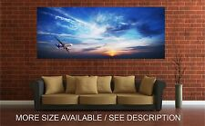 Wall Art Canvas Print Picture Jet Airplane Wing Flying Clouds Sunset-Unframed