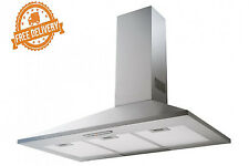 Rangehood Canopy Stainless Commercial Glass Wall Chef 90cm Bbq New Kitchen Hood