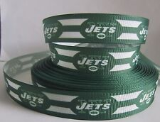 """GROSGRAIN NEW YORK JETS FOOTBALL 7/8"""" INCH RIBBON *YOUR CHOICE OF 1,3 or 5 YARDS"""