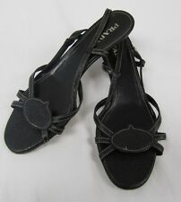 AUTH Women's Prada Black Leather Slingback Strappy Kitten Heel Sandal Shoes 39