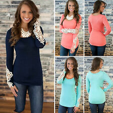 Womens Lace Long Sleeve Blouse Summer Casual Shirt Longblouse T-shirt Tunic Tops