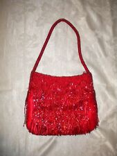Little Flapper Arm Purse Beaded RED Solid color Polyester