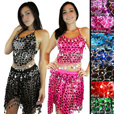 Holiday Seasonal Sequins Mermaid Scale Belly Dance Costume Hip Scarf Shawl Set