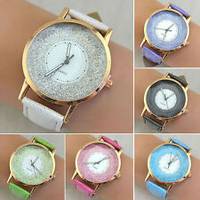 Women Simple Design Big Round Dial Faux Leather Band Quartz Wrist Watch Perfect