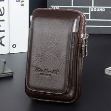 Waist Belt Bag Men Genuine Leather Small Cell Mobile Phone Purse Bum Fanny Pack