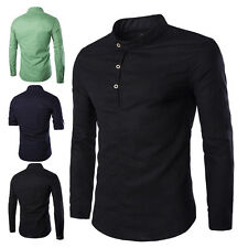 Mens Button Traditional Chinese Men's Casual Solid Shirt Stand Collar Tops New