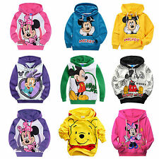 2-9Y Boys Girls Hoody Mickey Minnie Disney Cotton Hoodies Kids Sweatshirt Coats