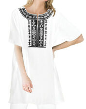 Plus size L, 1X, 2X, 18W/20W, 22W/24W 26W/28W White, tunic top blouse embroidery