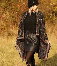 Plush Cardigan Shaggy Knit Tassels Fringes S/M L/XL Black Multicolour Warm