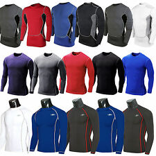 Mens Compression Under Base Layers Armour Long Sleeve Fitness Shirt Jersey Gear
