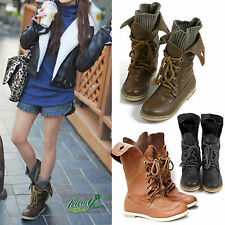 Fashion Womens Casual PU Leather Lace Up Combat Boots Goth High Top Ankle Martin