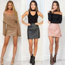 Women Sexy Autumn Slim PU Leather Skirt Bodycon Skirt Stretch Mini Skirt