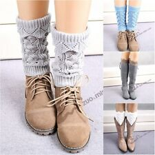 Women Crochet  Boot  New Leg Warmers Winter Knitted Cover Socks Faux Lace g44