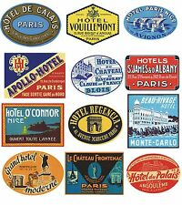 12 Reproduction Vintage Luggage Suitcase Labels Stickers - France No.3