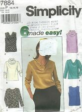 Simplicity 7884 Misses' Tops 12, 14, 16   Sewing Pattern