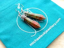 Unakite Gemstone Earrings Natural Quartz Crystal Chakra Healing Stone Reiki