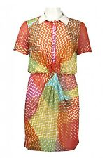 New NWT Walter Baker Chevron Zigzag Print Chiffon Dress $168