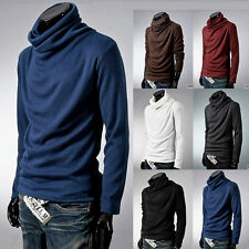 New Fashion Men's Autumn loose high-necked  Long Sleeve Casual Fit T Shirts Tops