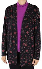 NWT Women Slinky Floral Top Casual Long Sleeve Cardigan Travel Knit Made In USA