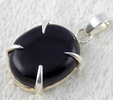 Natural Black Onyx Oval 20x25mm Cabochon Gemstone 925 Sterling Silver Pendent