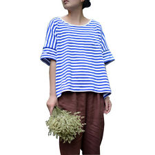 Fashion Women Batwing Loose Crew Neck Striped T Shirts Tee Blouse Cropped Tops