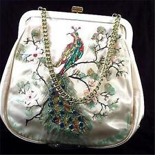 Vintage Hand Beaded Hand Painted Cherry Blossoms Hand Bag *