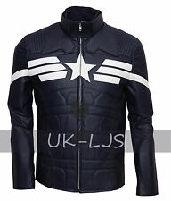 Captain America Winter Soldier Synthetic Leather Jacket Cosplay Party Costume