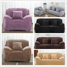 Plush Stretch Couch Sofa Cover For 1 2 3 4 Seater Winter Solid Pure Colour New