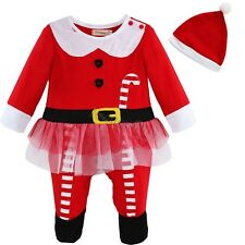 Toddler Baby Girls boys Christmas Santa Dress Romper Outfit+hat Costume Clothes