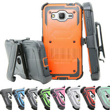 Shockproof Rugged Armor Hybrid Hard Rubber Case Stand Belt Clip Cover Holster