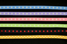 "12 Yards of 3/8"" 9mm. Grosgrain Polka Dot Ribbon in Chic Pastel Color Tone"