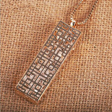 Necklace  Statement  Long chain Crystal  Fashion Hollow  rectangle  Pendant