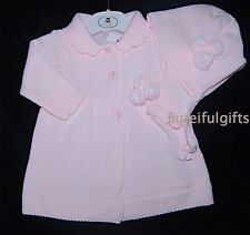 Girls Spanish Style Pink or Dusky Pink Knitted Pom Pom Coat & Bonnet 0-9 Month