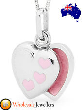 New 925 Sterling Silver Pink Love Heart Childs Kids Baby Charm Photo Locket